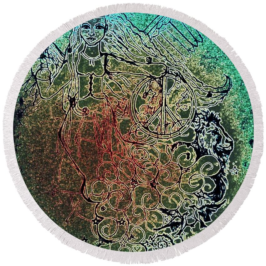 Wendy Wunstell Round Beach Towel featuring the digital art Crystal Visions by Wendy Wunstell