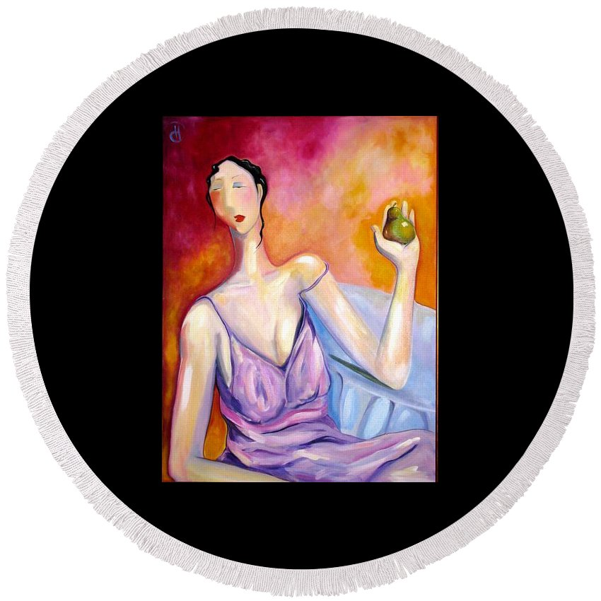 Figure Round Beach Towel featuring the painting A New Pair by Heather Roddy