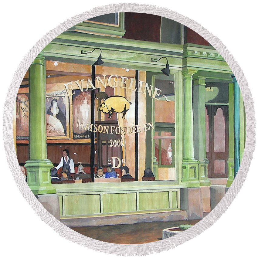 Restaurant Round Beach Towel featuring the painting A Night At Evangeline by Dominic White