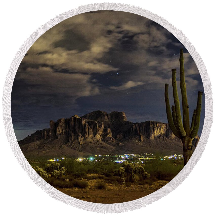 Superstitions Round Beach Towel featuring the photograph A Night In The Superstitions by Saija Lehtonen