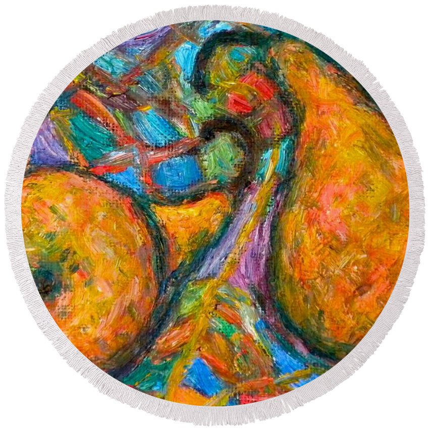 Pears Round Beach Towel featuring the painting A Pair by Kendall Kessler