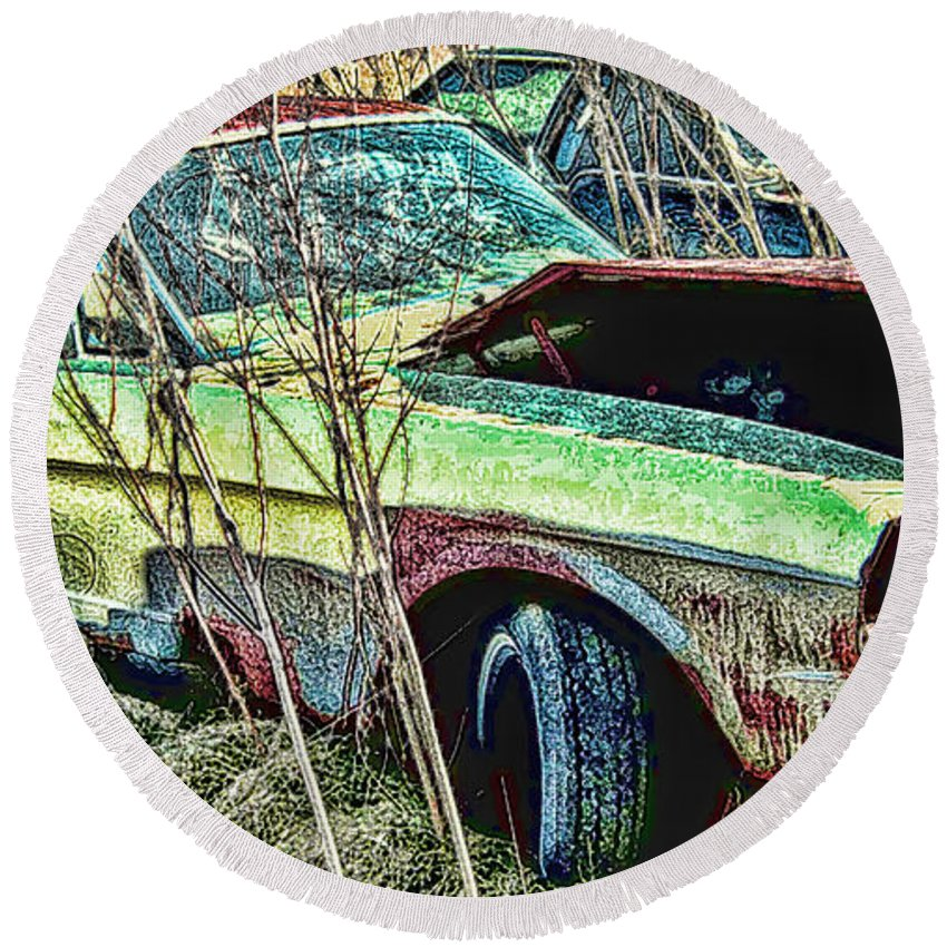 Ford Round Beach Towel featuring the digital art A Parted Out Mustang by Tommy Anderson