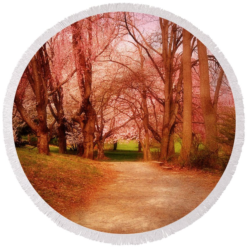 Cherry Blossom Trees Round Beach Towel featuring the photograph A Path To Fantasy - Holmdel Park by Angie Tirado