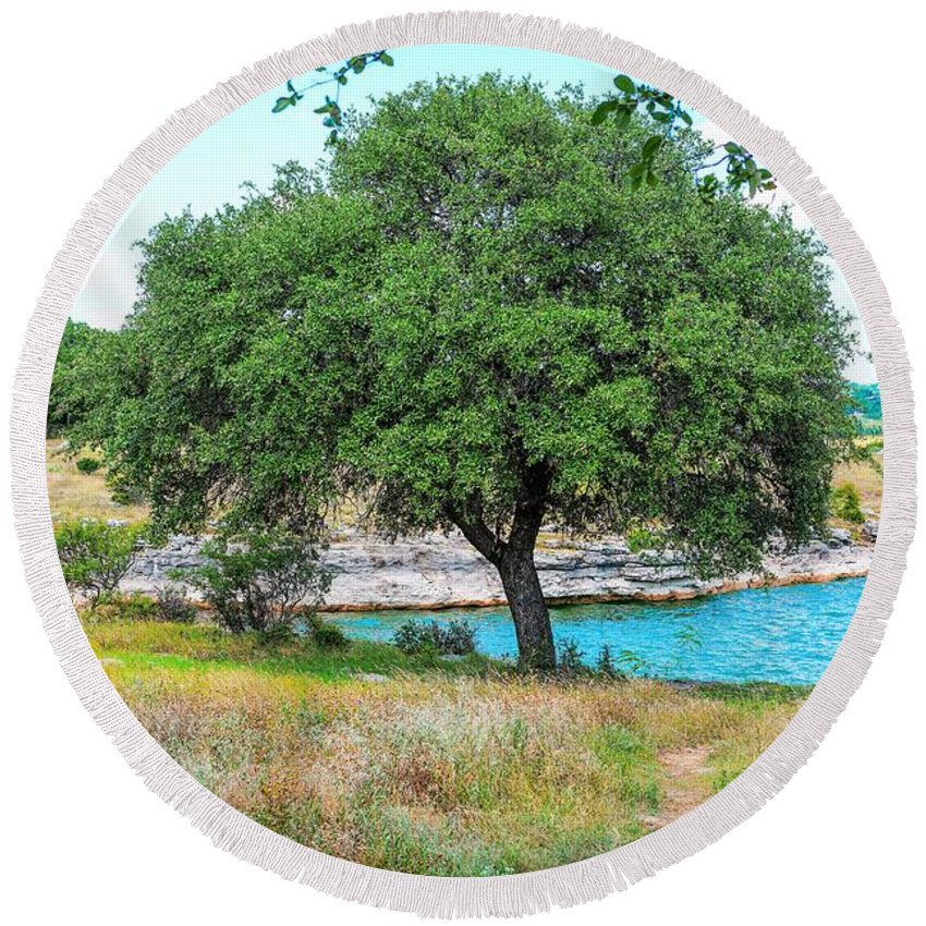 Tree Round Beach Towel featuring the photograph A Path To by Ric Schafer