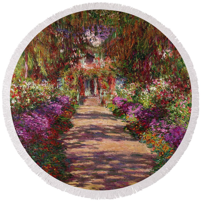 Pathway Round Beach Towel featuring the painting A Pathway In Monets Garden Giverny by Claude Monet