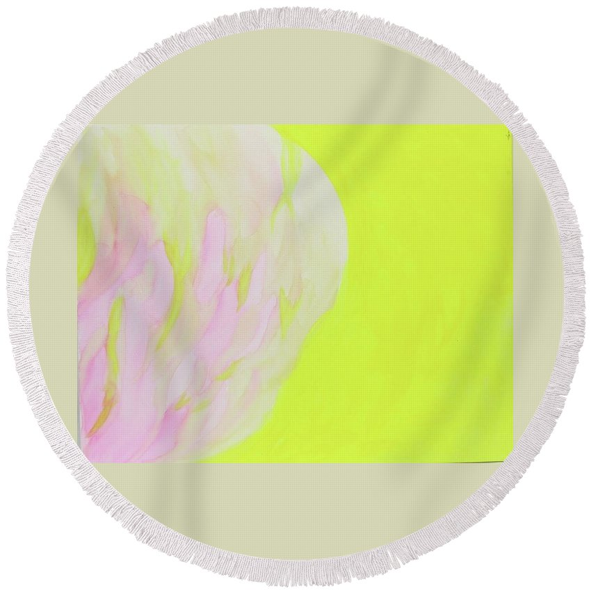 Light Round Beach Towel featuring the painting A Peace Of Light by Keshida Layone