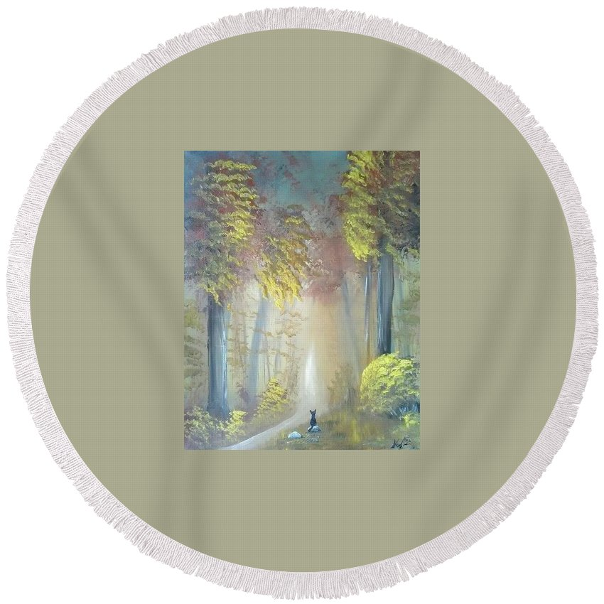 Cat Round Beach Towel featuring the painting A Peaceful Journey by Krista May