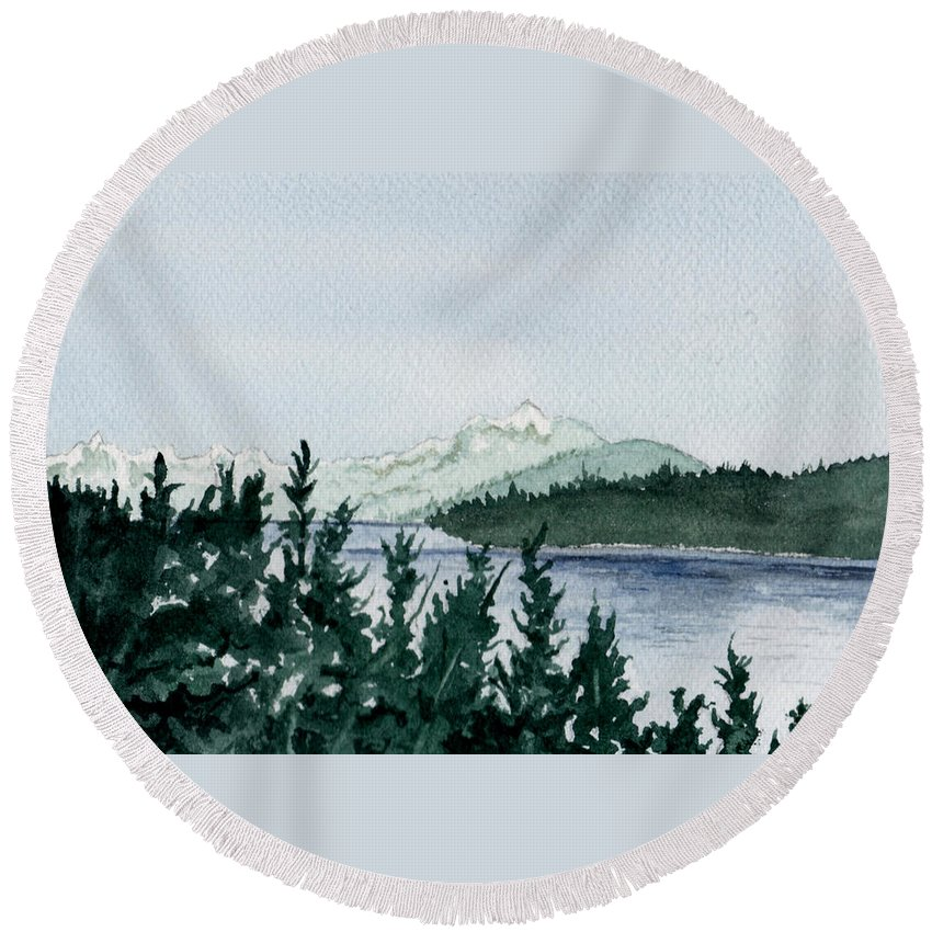Landscape Round Beach Towel featuring the painting A Peaceful Place by Brenda Owen