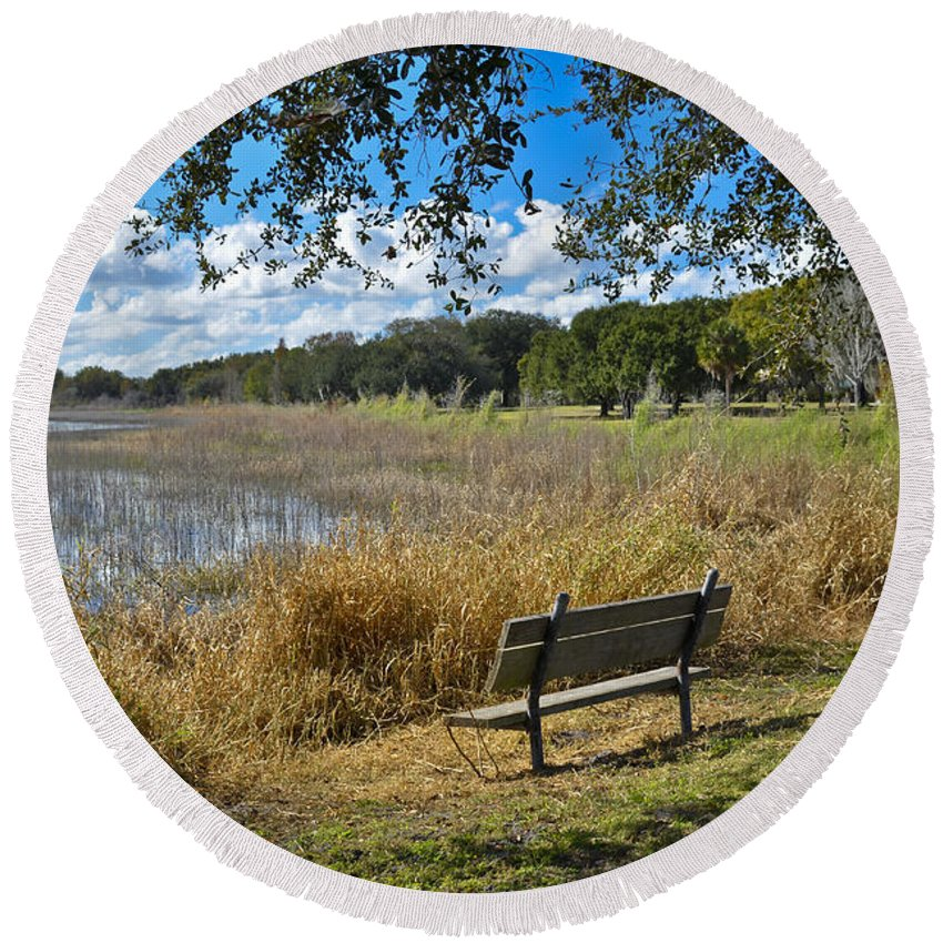 Florida Landscape Round Beach Towel featuring the photograph A Peaceful Place by Carolyn Marshall