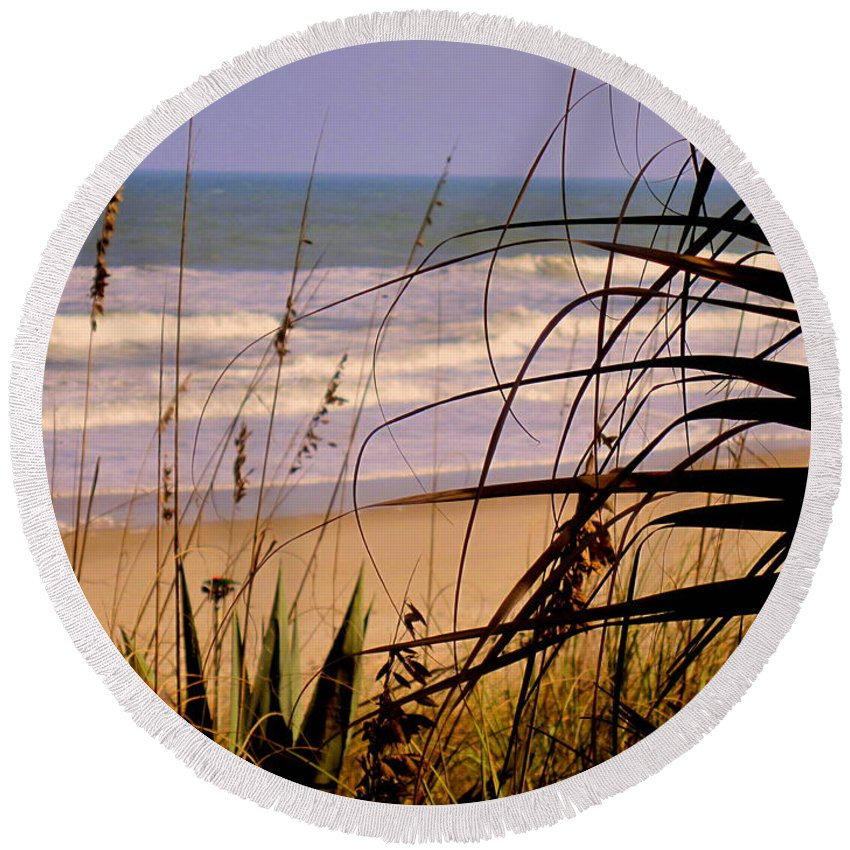 Peek At The Shore Round Beach Towel featuring the photograph A Peek At The Shore by Susanne Van Hulst