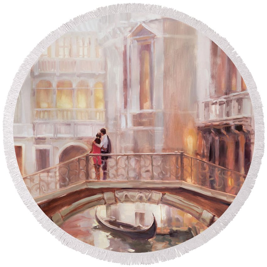 Romantic Round Beach Towel featuring the painting A Perfect Afternoon In Venice by Steve Henderson