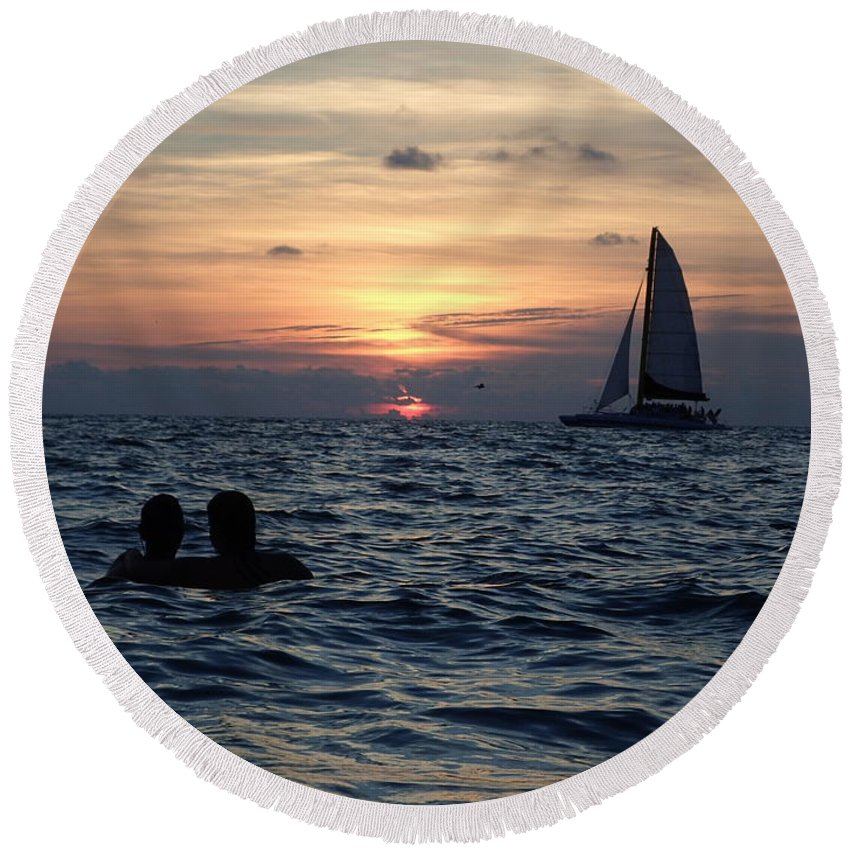 Sunset Round Beach Towel featuring the photograph A Perfect Days End by Micah Campbell