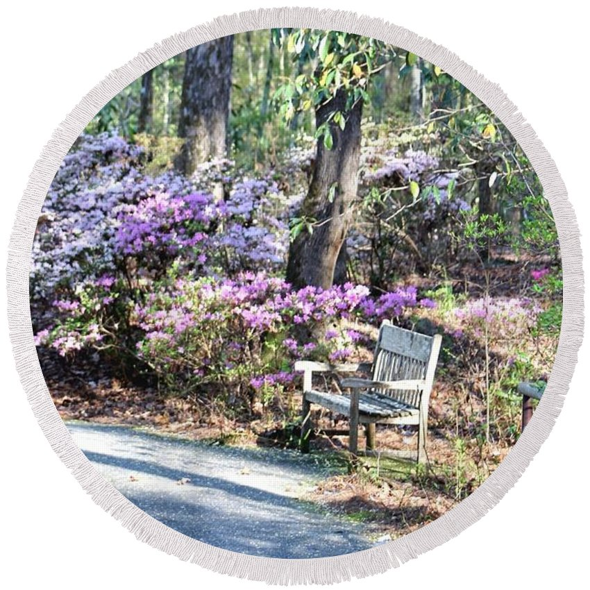 Gardens Round Beach Towel featuring the photograph A Place To Rest by Gayle Miller