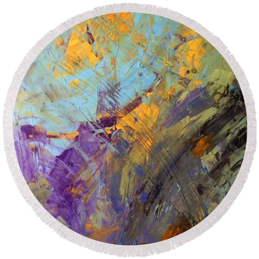 Abstract Art Round Beach Towel featuring the painting A Planet Outside The Milk Way by John Dossman