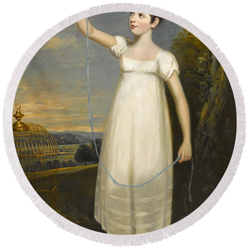 William Beechey Round Beach Towel featuring the painting A Portrait Of Ellen Smith Of Nottingham by William Beechey