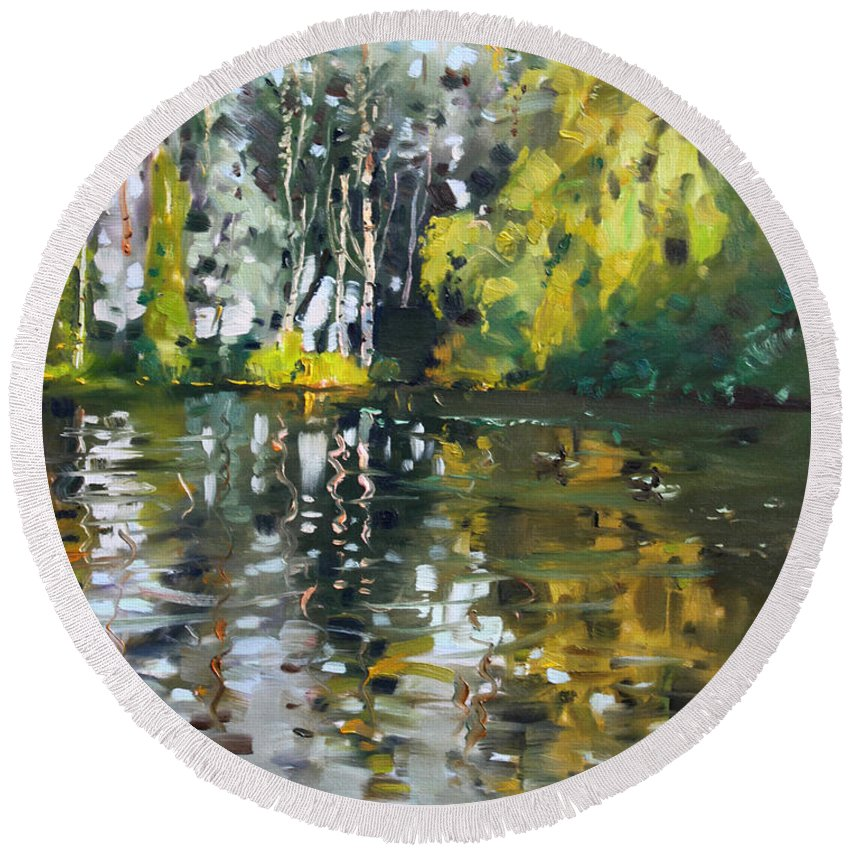 Landscape Round Beach Towel featuring the painting A Quiet Afternoon Reflection by Ylli Haruni