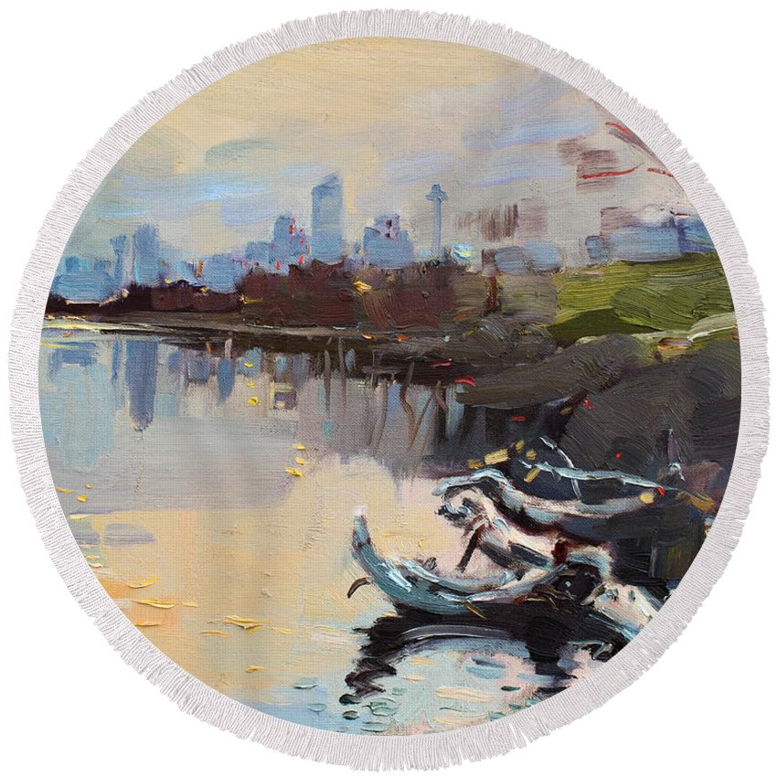 Landscape Round Beach Towel featuring the painting A Quiet End Of Day by Ylli Haruni