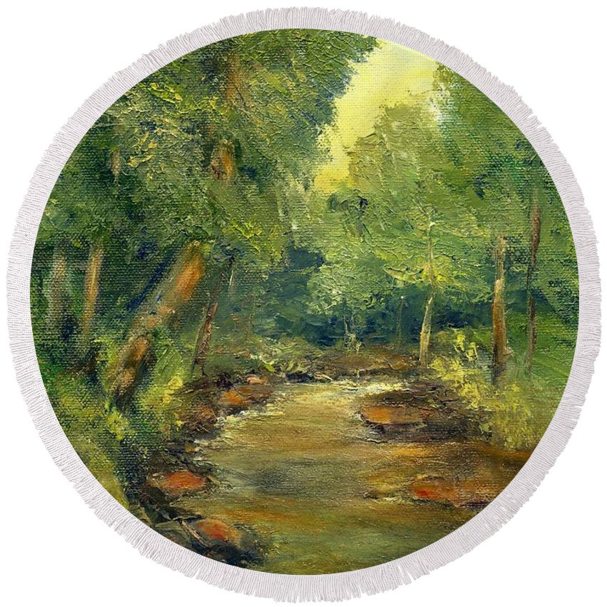 Creek Round Beach Towel featuring the painting A Quiet Place by Gail Kirtz