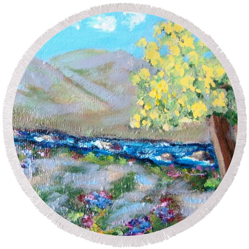 Landscapes Round Beach Towel featuring the painting A Quiet Place by Laurie Morgan