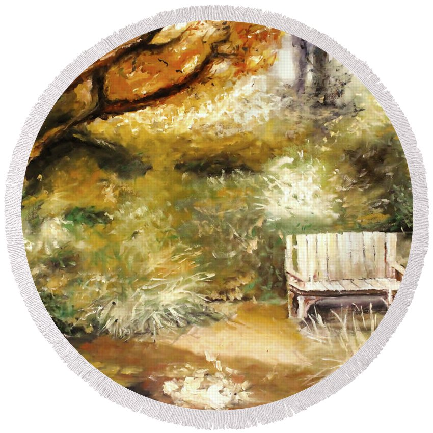 Ablaze Round Beach Towel featuring the painting A Quiet Place by Melissa Herrin