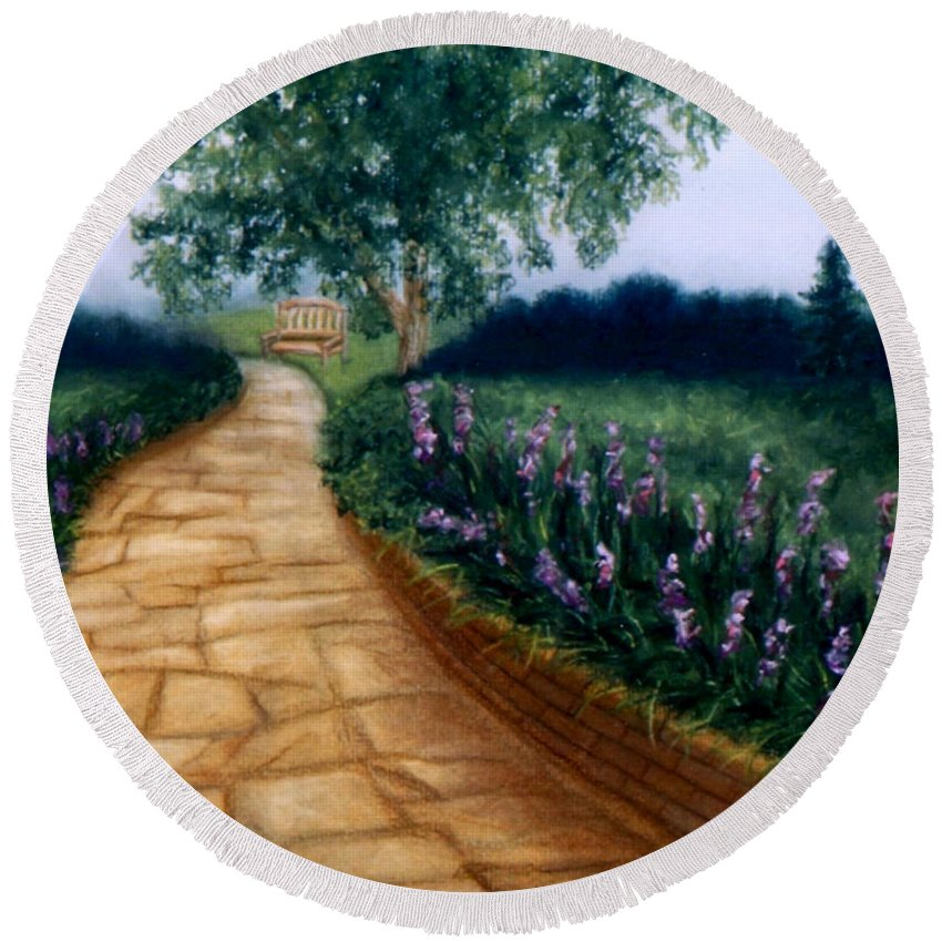 Landscape Round Beach Towel featuring the painting A Quiet Place by Melissa Joyfully