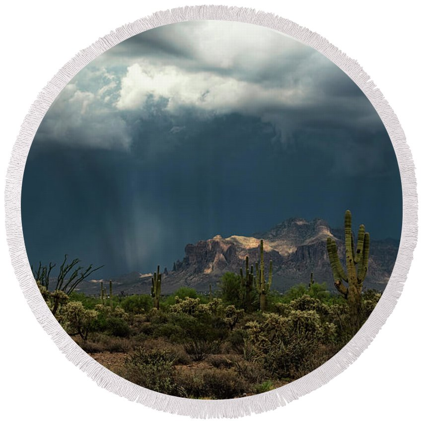 Arizona Round Beach Towel featuring the photograph A Rainy Evening In The Superstitions by Saija Lehtonen