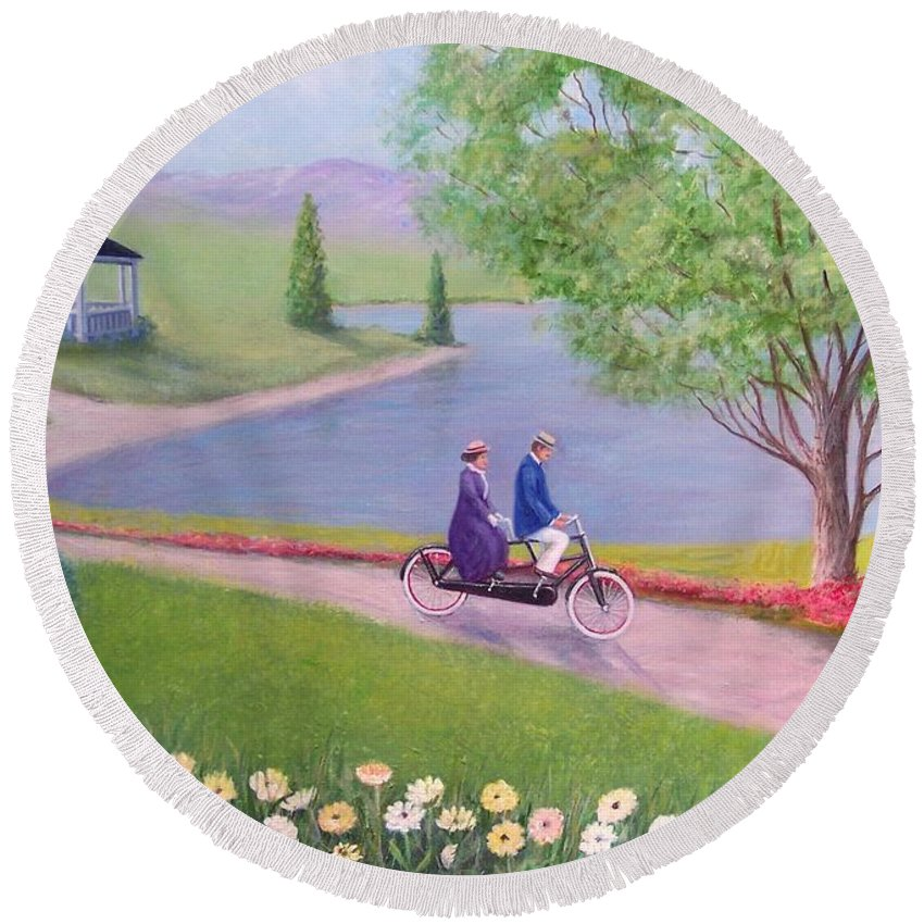 Landscape Round Beach Towel featuring the painting A Ride In The Park by William Ravell