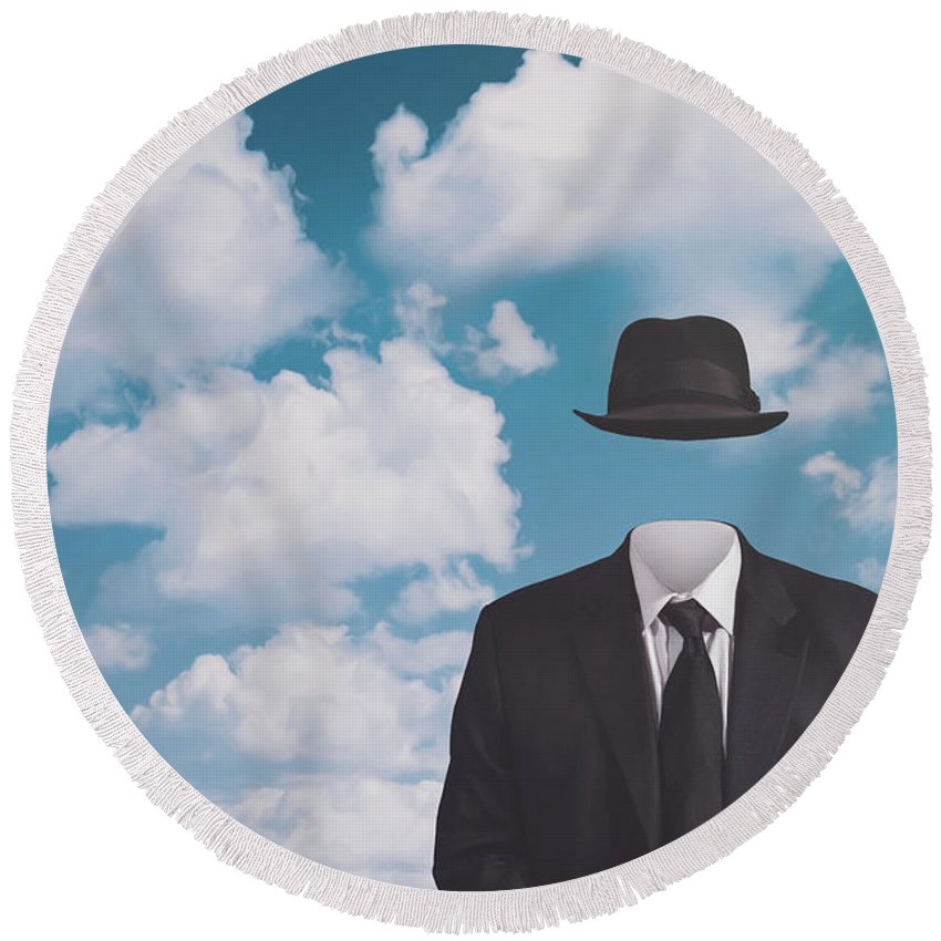 Rene Magritte Round Beach Towel featuring the photograph A Riff On Magrittes The Pilgrim by Scott Norris