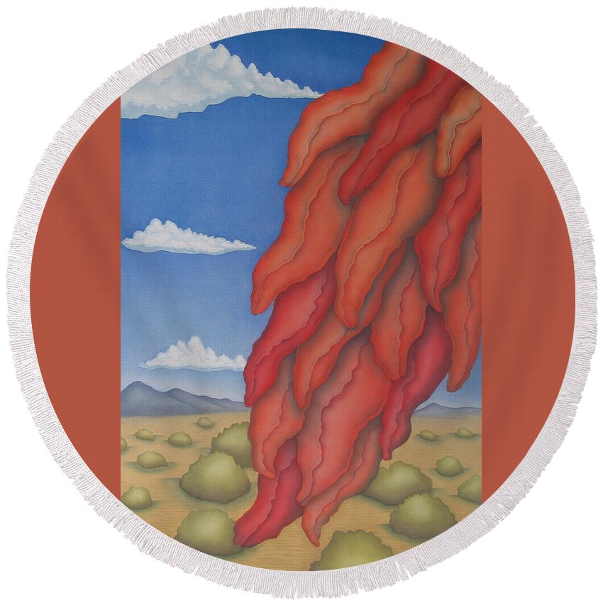 Southwest Round Beach Towel featuring the painting A Ristra On A Breeze by Jeniffer Stapher-Thomas