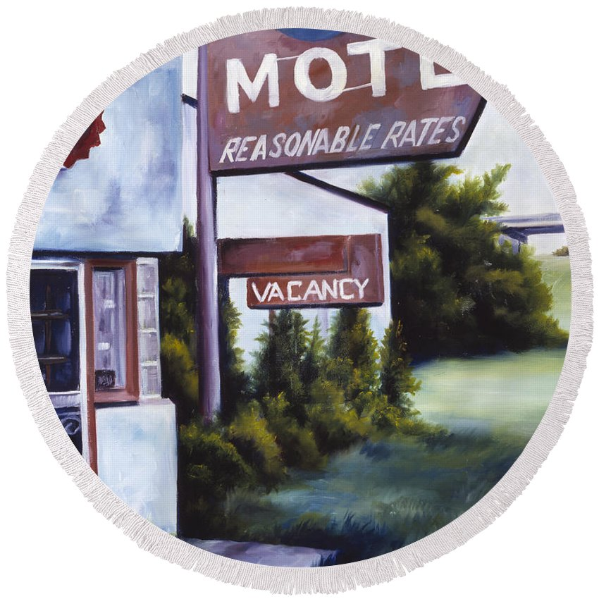 Motel; Route 66; Desert; Abandoned; Delapidated; Lost; Highway; Route 66; Road; Vacancy; Run-down; Building; Old Signage; Nastalgia; Vintage; James Christopher Hill; Jameshillgallery.com; Foliage; Sky; Realism; Oils Round Beach Towel featuring the painting A Road Less Traveled by James Christopher Hill
