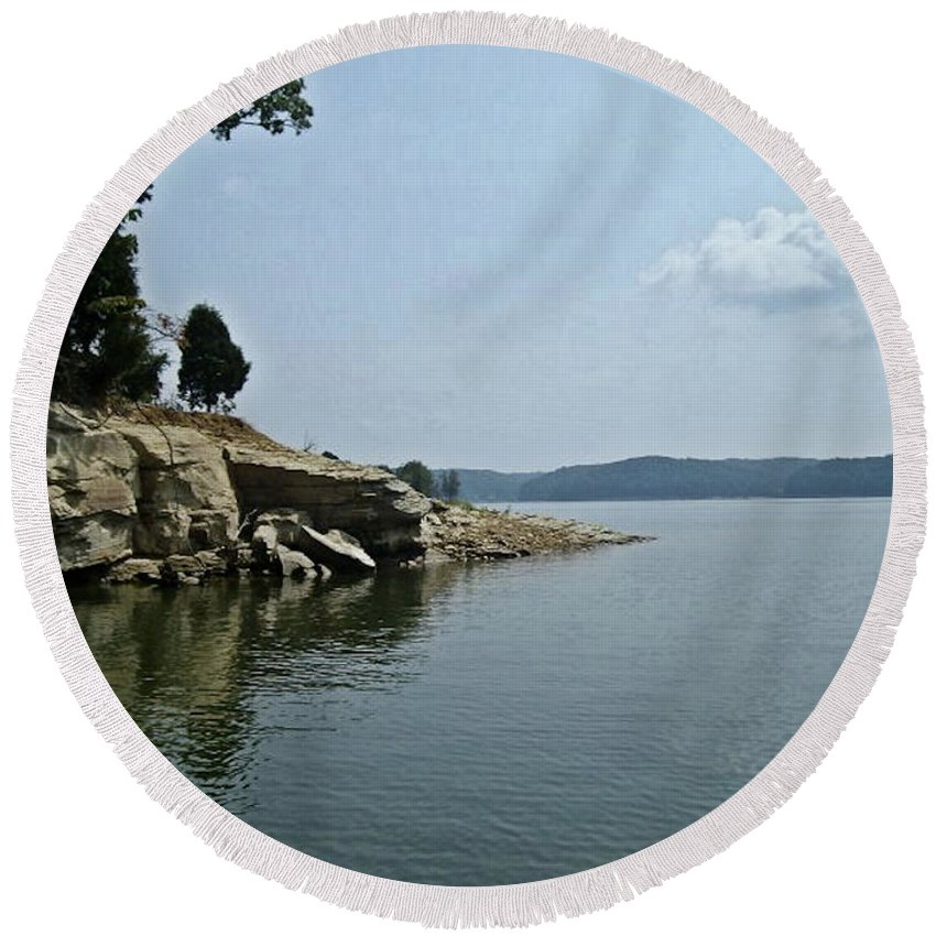 Monroe Round Beach Towel featuring the photograph A Rocky Point - Monroe Lake by Scott D Van Osdol