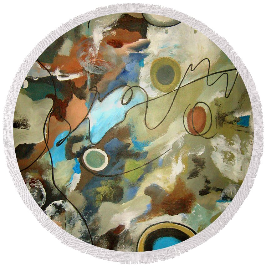 Abstract Round Beach Towel featuring the painting A Rolling Stone Gathers No Moss by Ruth Palmer