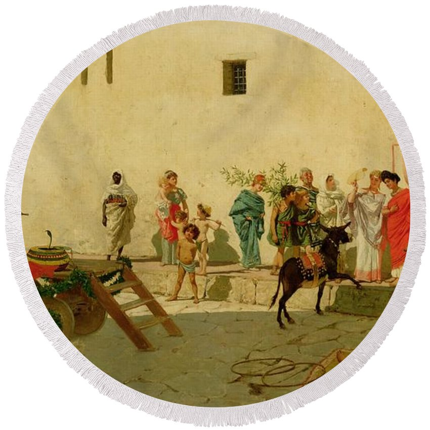 A Roman Street Scene With Musicians And A Performing Monkey Round Beach Towel featuring the painting A Roman Street Scene With Musicians And A Performing Monkey by Modesto Faustini