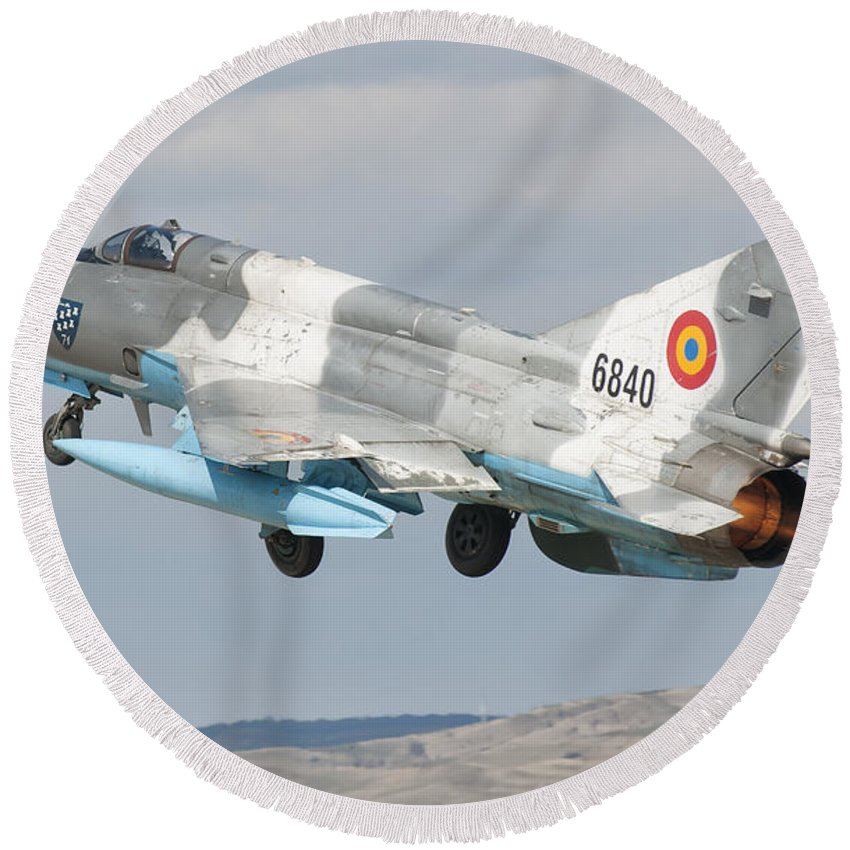 Horizontal Round Beach Towel featuring the photograph A Romanian Air Force Mig-21c Taking by Giovanni Colla