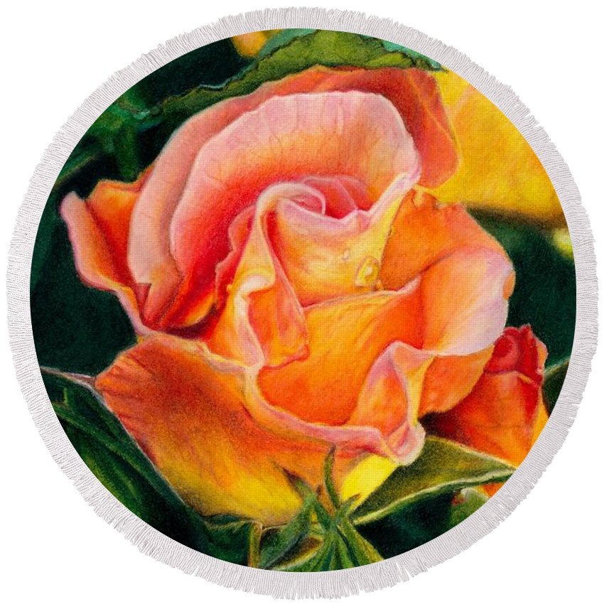 Coloured Pencil Round Beach Towel featuring the painting A Rose For Nan by Amanda Jensen