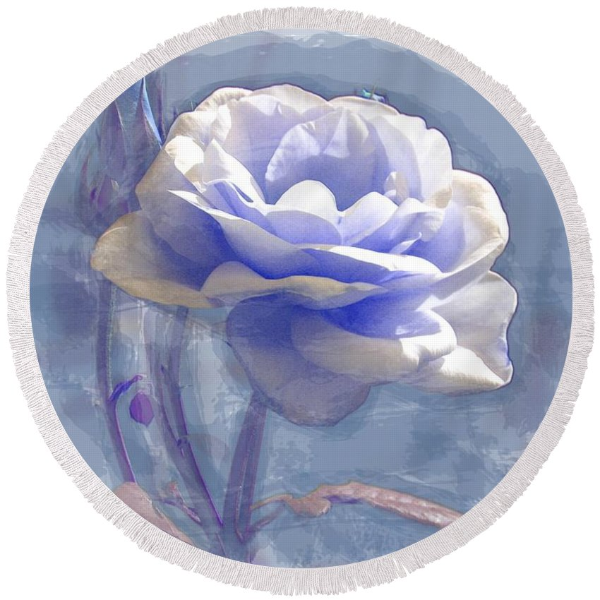 Rose Pastel Blue Flower Roses Flowers Floral Flora Watercolour Art White Bloom Blossom Round Beach Towel featuring the painting A Rose In Pastel Blue by Joy of Life Art Gallery