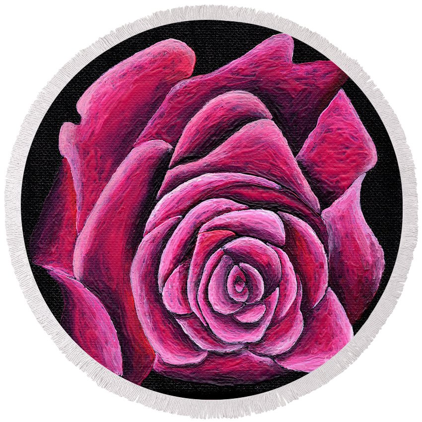 Kasia Round Beach Towel featuring the painting A Rose In Time by Kasia Bitner
