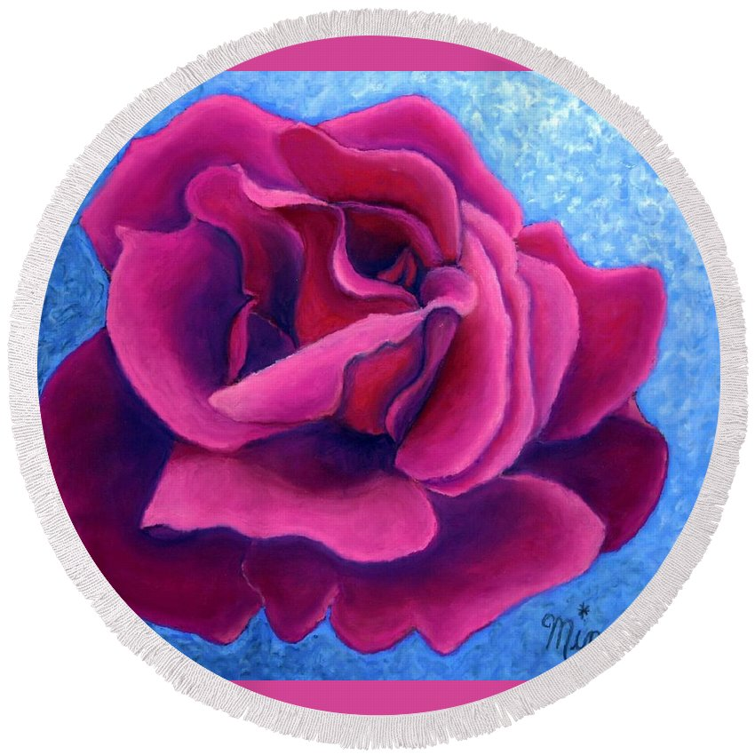 Rose. Pink Rose Round Beach Towel featuring the painting A Rose Is A Rose.. by Minaz Jantz