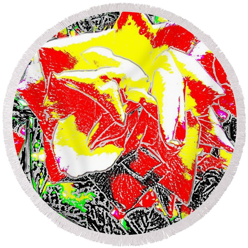 Rose Round Beach Towel featuring the digital art A Rose Is by Tim Allen