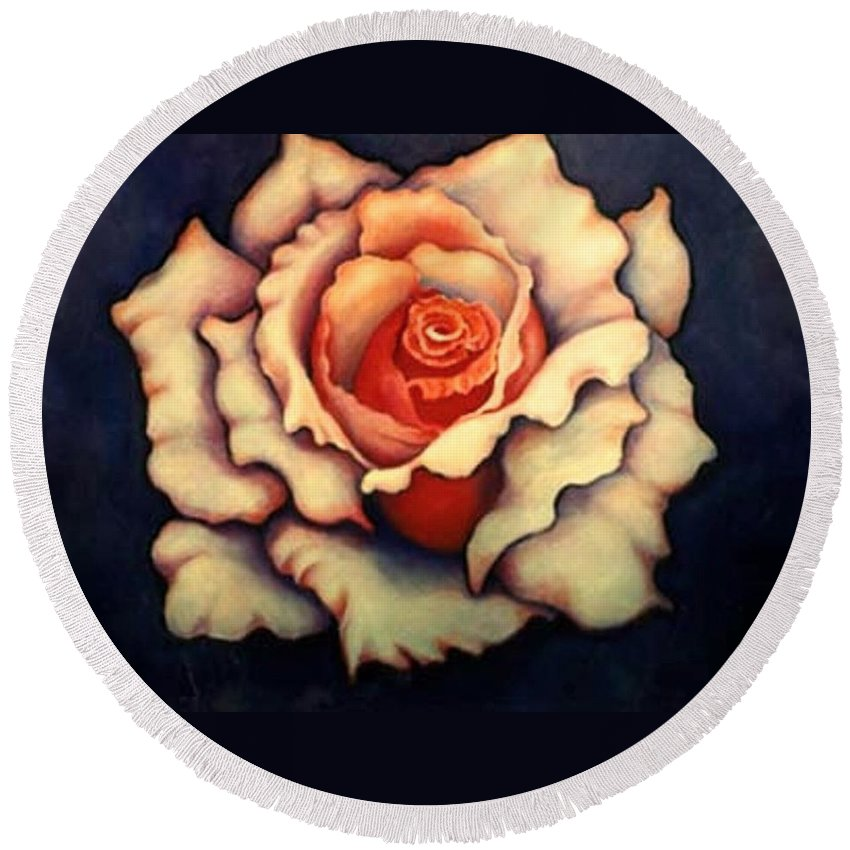 Flower Round Beach Towel featuring the painting A Rose by Jordana Sands