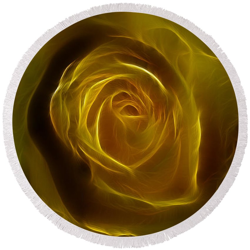 Yellow Round Beach Towel featuring the photograph A Rose Of Yellow by Deborah Benoit