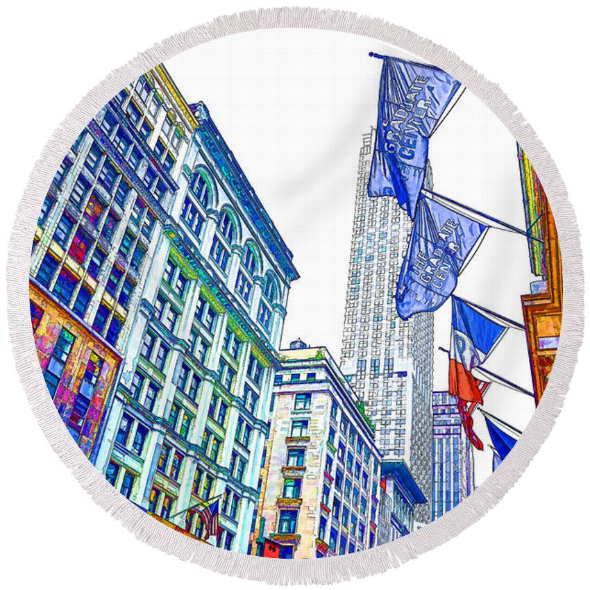 A Row Of Flags In The City Of New York Round Beach Towel featuring the painting A Row Of Flags In The City Of New York 1 by Jeelan Clark