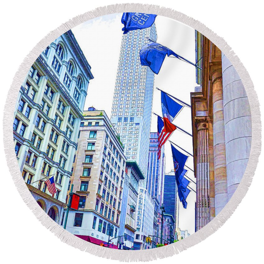 A Row Of Flags In The City Of New York Round Beach Towel featuring the painting A Row Of Flags In The City Of New York 2 by Jeelan Clark