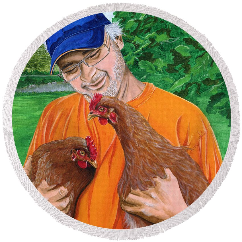 Chicken Rescue Sanctuary Portrait Chicken Landscape Pet Companion Round Beach Towel featuring the painting A Safe Place To Land by Twyla Francois