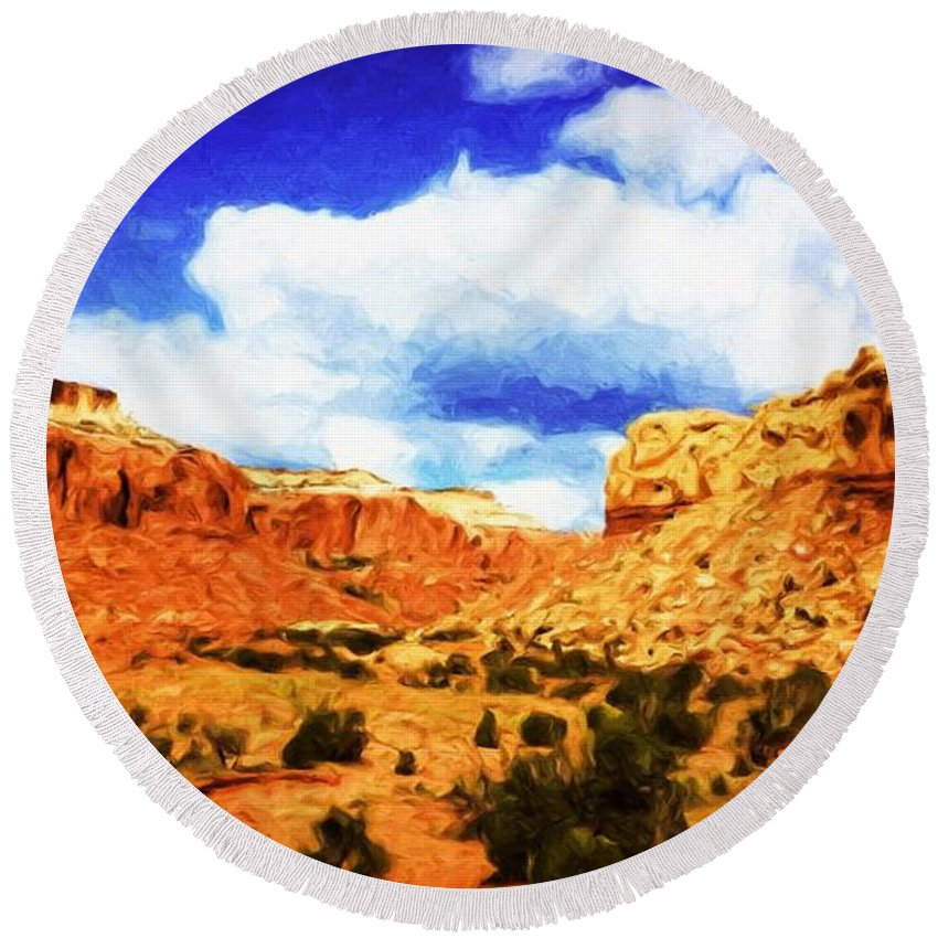 Abiquiu Round Beach Towel featuring the painting A Scene From Abiquiu by Jim Buchanan