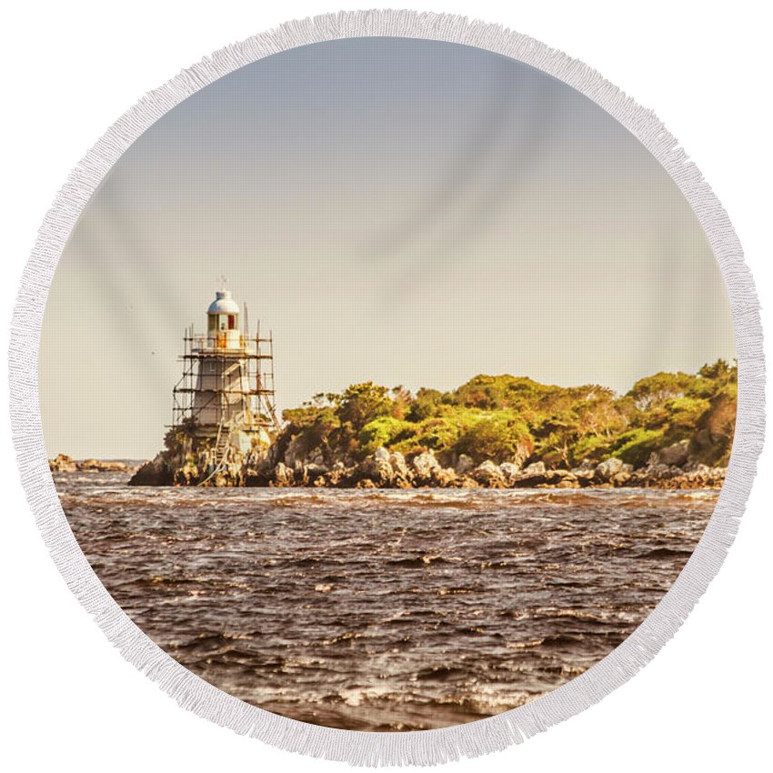 Light House Round Beach Towel featuring the photograph A Seashore Construction by Jorgo Photography - Wall Art Gallery