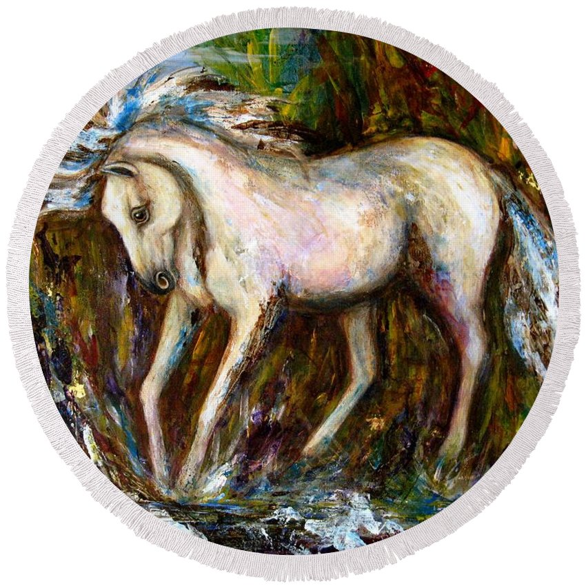 Horse Painting Round Beach Towel featuring the painting A Secret Place White Hores Painting by Frances Gillotti