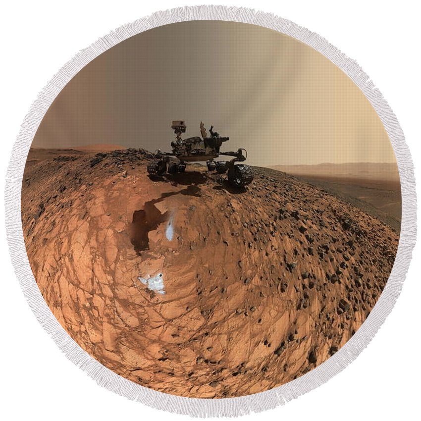 Mars Round Beach Towel featuring the photograph A Selfie On Mars by Nasa