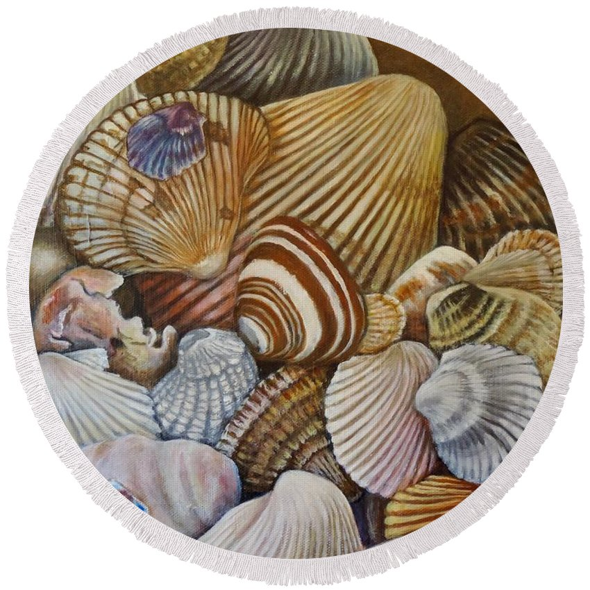 Shell Round Beach Towel featuring the painting A Shell Of A Good Time by Jodi Higgins
