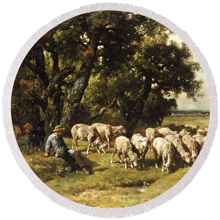 A Shepherd And His Flock Round Beach Towel featuring the painting A Shepherd And His Flock by Charles Emile Jacques